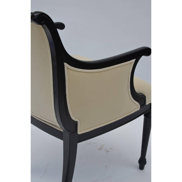 Textile Pair of Chic Black Lacquer and Cream Velvet Armchairs by William Haines For Sale - Image 7 of 8