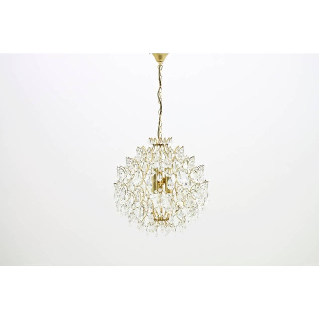1970s Swarovski Crystal Glass and Gold Chandelier, 1970s For Sale - Image 5 of 5