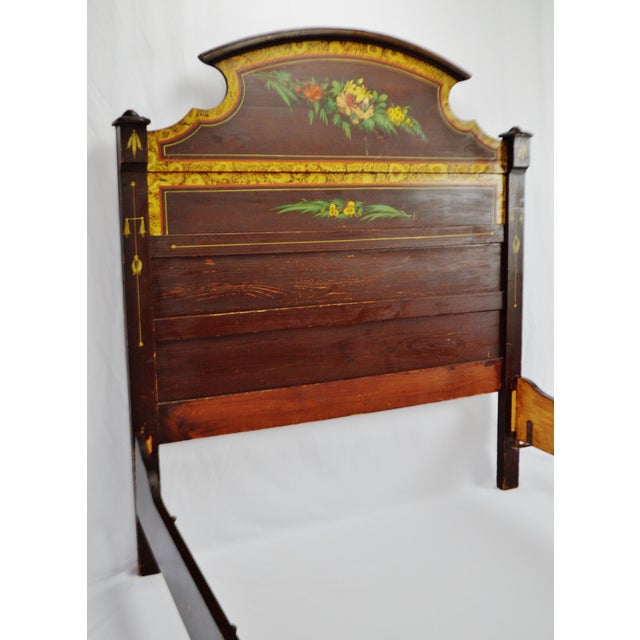 Cottage Vintage Hand Painted Wood Bed - Full Size For Sale - Image 3 of 11