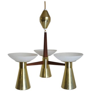 Modernist Perforated Brass and Walnut Chandelier, Circa 1960s For Sale