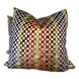 """Image of Mini Checkerboard Cut Velvet 22"""" Pillows-A Pair For Sale"""