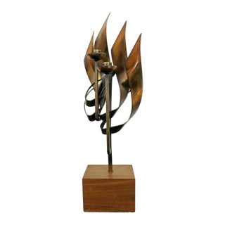 Mid Century Modern Brutalist Candle Holder Table Sculpture Signed Chayat 1960s For Sale
