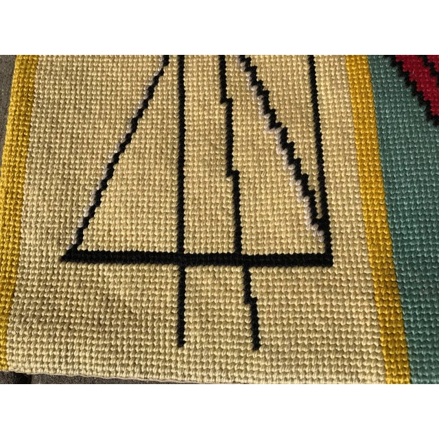 Modernist abstract hand-loomed rug or wall hanging, after Picasso. Similar to a classic hook rug, extremely well executed.