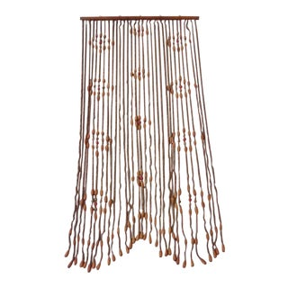 Vintage Wooden Beaded Curtain For Sale