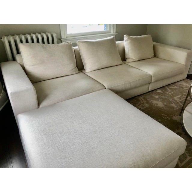 Traditional Off White Linen Sectional Sofa With Ottoman For Sale - Image 3 of 12
