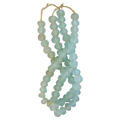 Icy Teal Jumbo Sea Glass Beads - Set of 2 - Image 1 of 3