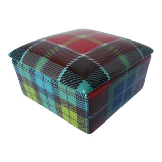 Vintage Fabienne Jouvin Porcelain Plaid Box