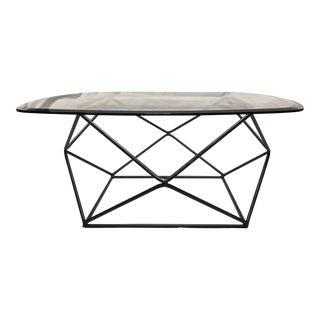 1960s Mid Century ModernMilo Baughman Style Geometric Metal Coffee Table