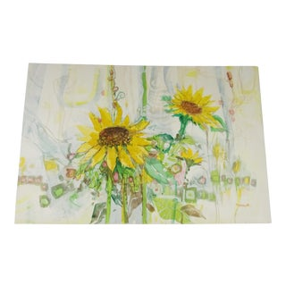 Vintage Mid-Century Sunflowers Signed Painting For Sale