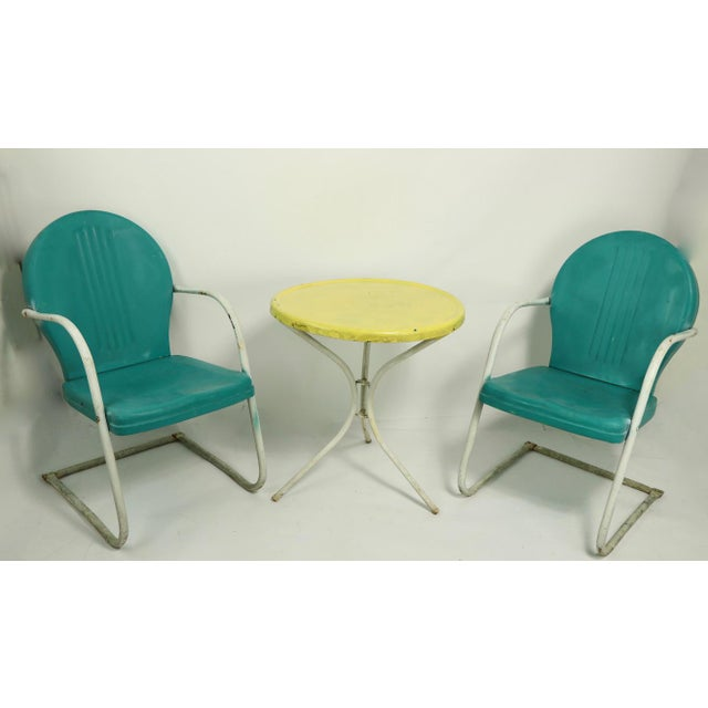 Mid Century Metal Lawn Garden Patio Chairs by Shott - a Pair For Sale - Image 11 of 13