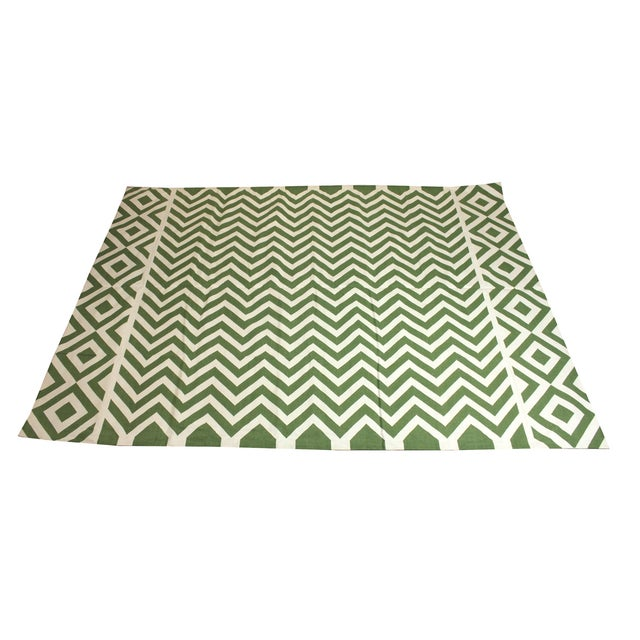 """Madeline Weinrib Green """"Lupe"""" Rug - 9' x 12' For Sale"""