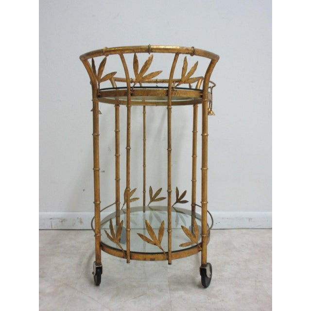 French Regency Faux Bamboo Tea Cart For Sale - Image 4 of 10