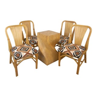 Vintage McGuire Style Rattan Set Table & Chairs Set - 5 Pieces For Sale