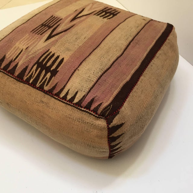 Moroccan Tribal Floor Pillow Seat Cushion Made From a Vintage Berber Rug For Sale - Image 11 of 13