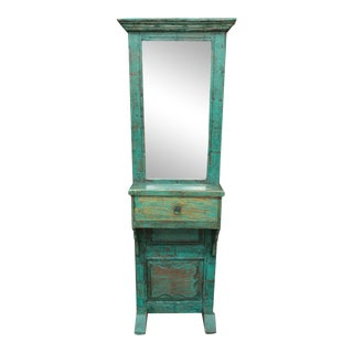 Green Painted Entryway Mirror w/Drawer