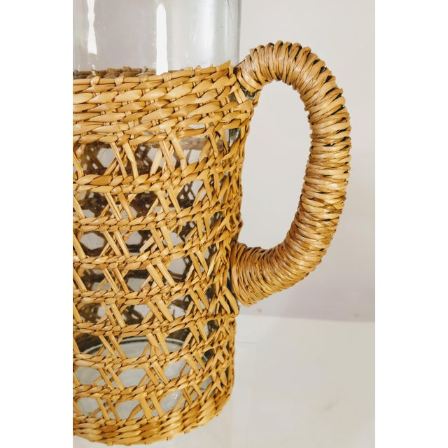 1980s Vintage Pitcher Rattan Wrapped Cocktail Server For Sale - Image 5 of 6