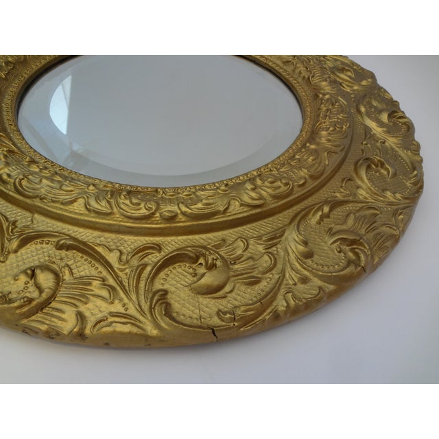 Vintage Gold Gilt Carved Wood Round Mirror - Image 4 of 5