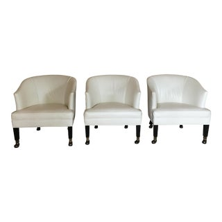 Hancock & Moore Leather Covered Custom Seat Height Tub Chairs - Set of 3 For Sale
