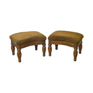 Regency Style Turned Leg Curved Ottomans Stools - a Pair