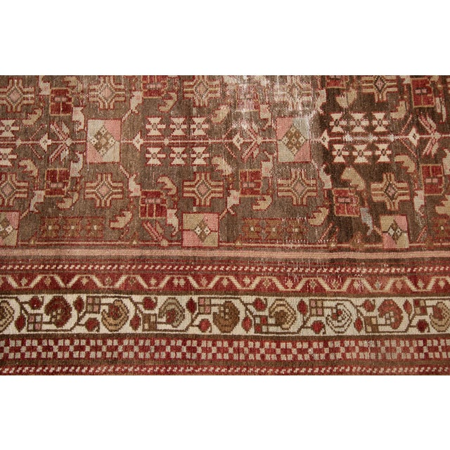 "Brown 1910s Traditional Apadana-Antique Persian Distressed Rug - 2'3"" X 10'0"" For Sale - Image 8 of 11"