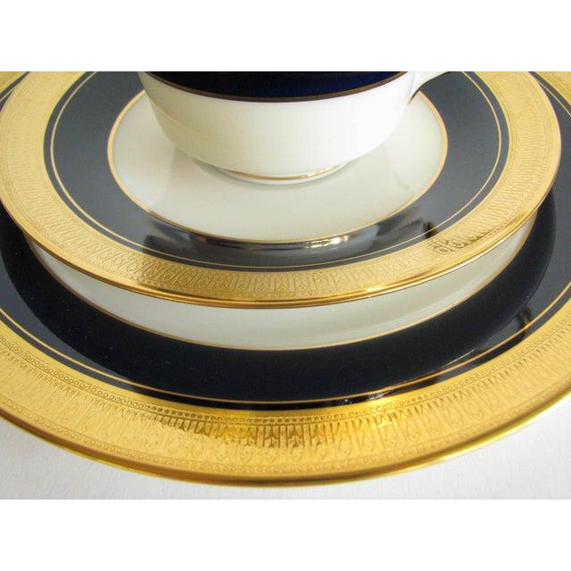 Noritake Vintage Noritake Cobalt and Gold Encrusted Band Tea Set - 21 Pieces For Sale - Image 4 of 13