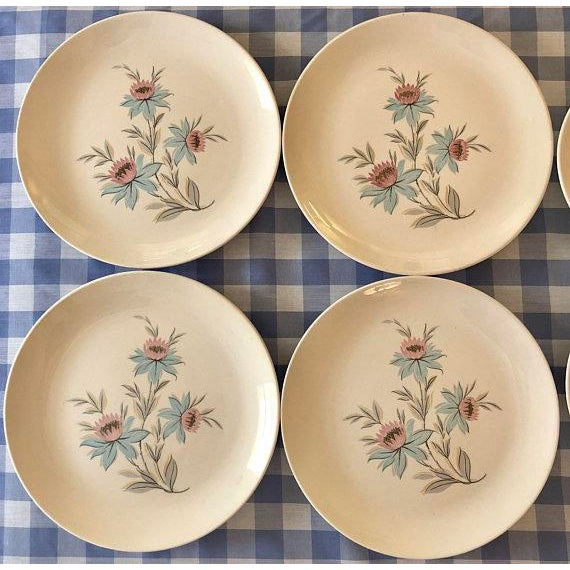 Mid-Century Modern Pink & Blue Floral Plates - Set of 8 For Sale - Image 5 of 11