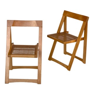 """Vintage Maple + Rattan """"Trieste"""" Folding Chairs, Attributed to Aldo Jacober for Bazzani, Circa 1970s For Sale"""