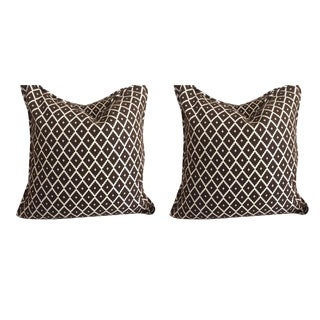 Manuel Canovas Pillows in Chocolate Brown & Cream - a Pair For Sale