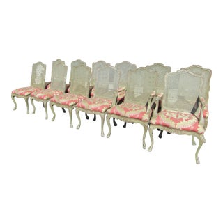 1940s Vintage French Cane Back Carved Wood Dining Chairs- Set of 12 For Sale