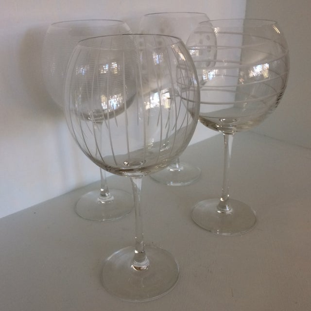 Mikasa Vintage Mikasa Etched Crystal Balloon Wine Glasses - Set of Four in Original Box Made in France For Sale - Image 4 of 13