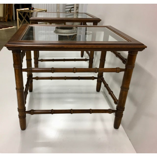 American Classical Mahogany & Glass Top End Tables - A Pair For Sale - Image 3 of 10