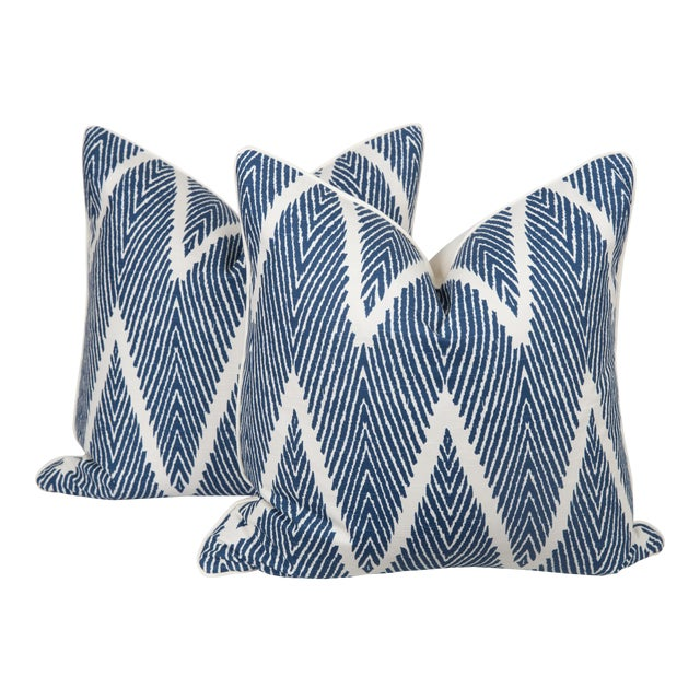 Blue and Ivory Chevron Pillows - a Pair For Sale