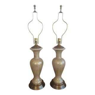 Vintage Hollywood Regency Paul Hanson Gold Crackle Glass Boudoir Lamps - a Pair