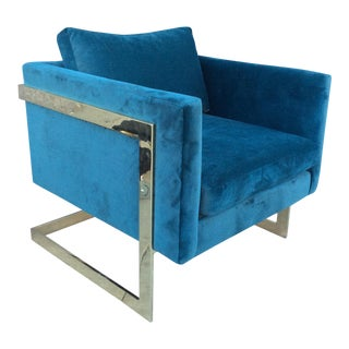 Milo Baughman Style Brass Velvet Lounge Chair For Sale