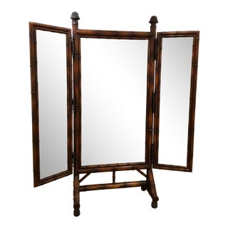 Vintage Theodore Alexander Asian Mahogany Standing Trifold Cheval Floor Mirror For Sale