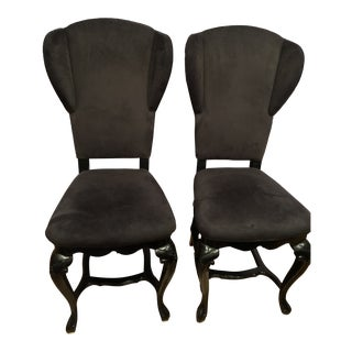 Late 20th Century Black Suede King Back Chairs- A Pair For Sale