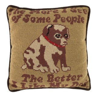 Vintage Handmade Needlepoint Dog Figurine Pillow 11x11 For Sale