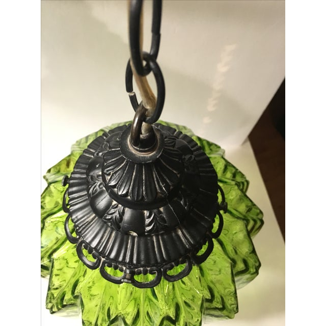 Mid-Century Green Glass Hanging Swag Lamp - Image 4 of 7