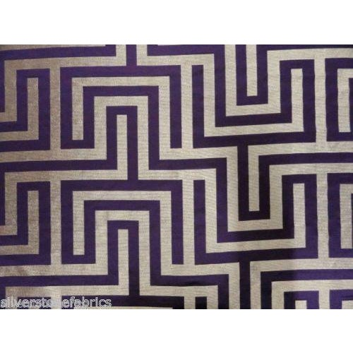 Beacon Hill Geometric Olympus in Purple & Silver - 2.25 Yards - Image 1 of 5