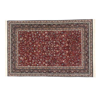 Vintage Persian Kashan Style Wool and Silk 300 Line Rug - 06'01 X 09'02 For Sale
