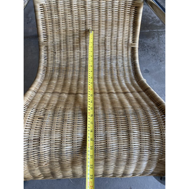 Chrome Vintage Woven Chrome & Rattan Italian Rocking Chair For Sale - Image 8 of 12