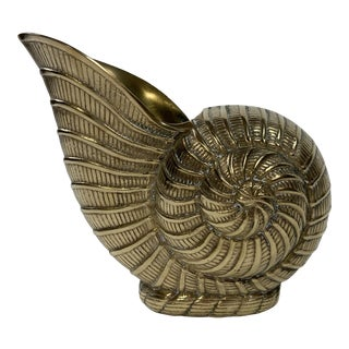 Brass Nautilus Shell Planter For Sale