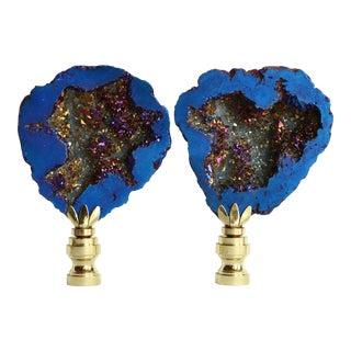 Cobalt and Gold Titanium Quartz Druzy Lamp Finials - a Pair For Sale
