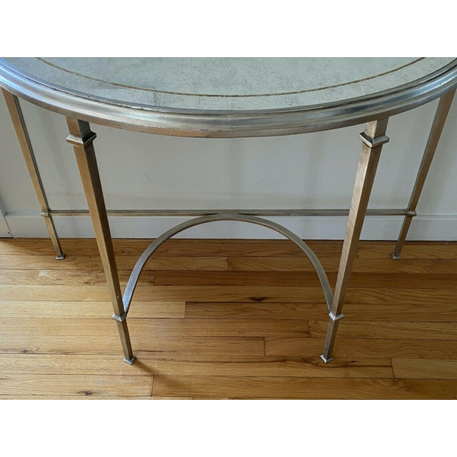 French Lillian August Wrought Iron and Glass Demilune Console Table For Sale - Image 3 of 8