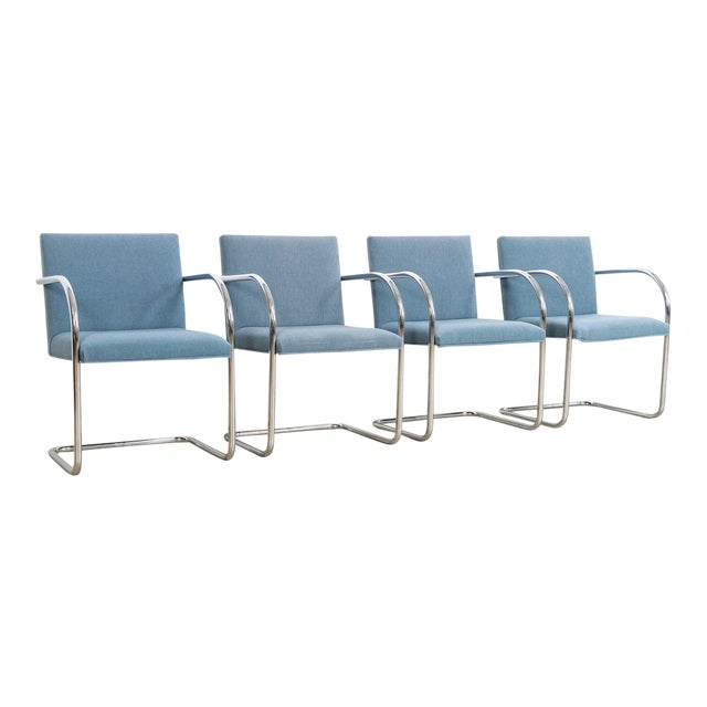 Mies Van Der Rohe Blue Brno Dining Chairs For Sale