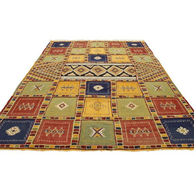 Boho Chic Berber Moroccan Kilim Rug with High-Low Pile, Flat-Weave Rug with Tribal Style For Sale - Image 3 of 8