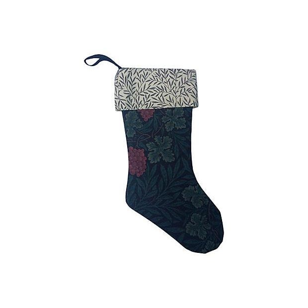 Custom Christmas stocking made with vintage William Morris fabric. Fully lined with William Morris contrasting textile and...