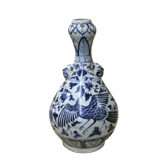 "Chinese Blue White Porcelain Suantouping ""Garlic Head Shape"" Vase For Sale"