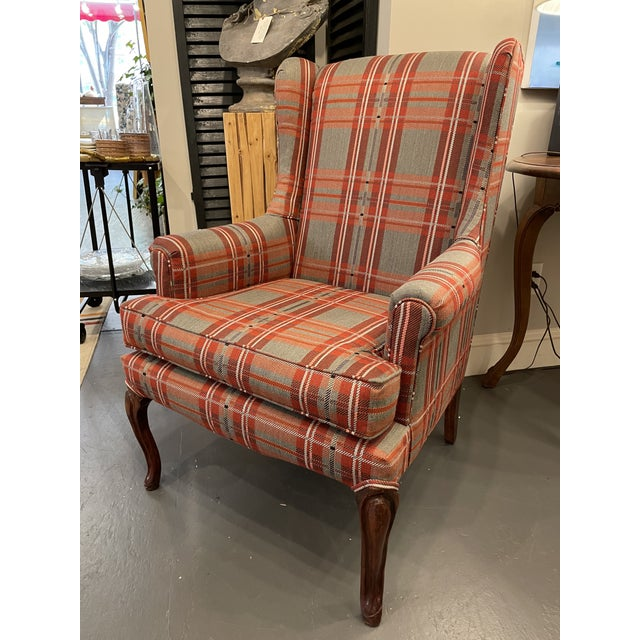 Antique Plaid Wingback Chair For Sale In Boston - Image 6 of 6