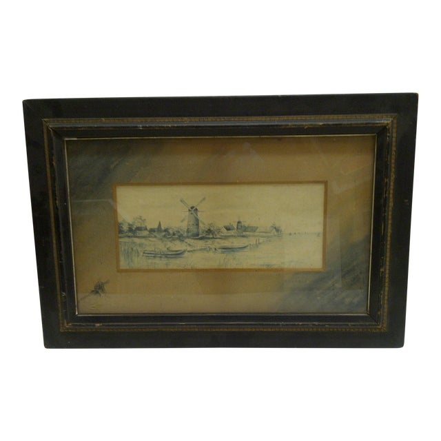 Circa 1890 The Windmill Drawing by Georgie Lacock For Sale